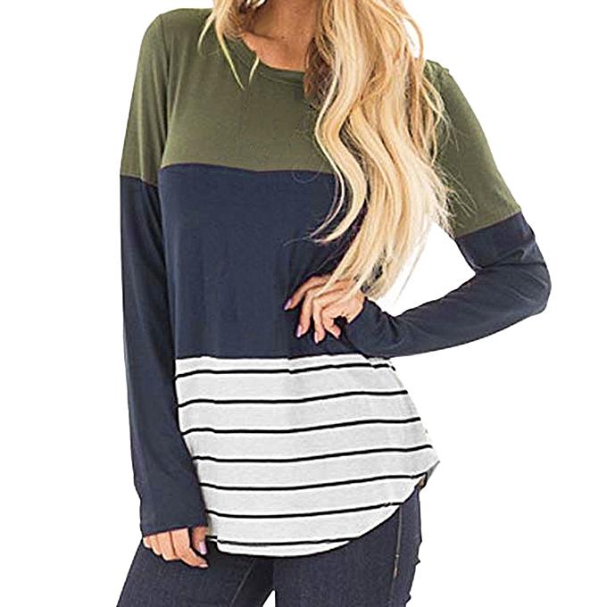 Xxl Sleeve Tunic Women Lace Casual Xiuxingzi Shirt Blouse Long Stripe Patchwork Tops c3R54qAjLS