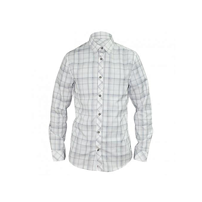 White Checked Long Sleeved Men's Casual Shirts