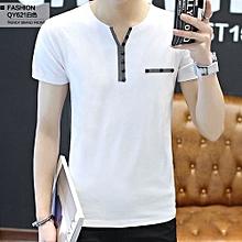 Men's Plus Buttoned Embelishment Short Sleeve T-shirt (White)