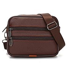 Hiamok Vintage Men Pure Color Leather Commerce Crossbody Bags Shoulder Bag Waist Bag