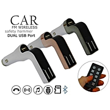 Car Charger, Car Bluetooth, Car FM  Modulator- With Remote - Gold & White