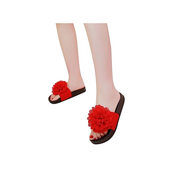 35d2de966 Technologg Shoes Women Solid Color Flower Round Toe Flat Heel Sandals  Slipper Beach Shoes Red-