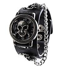 Men Fashion Punk Watch Rock Chain Skull Pattern Faux Leather Band Wristwatch-Black