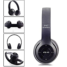 P47 Bluetooth 4.2 Headphone Wireless  Earphone Hands Free Music Headset-Black