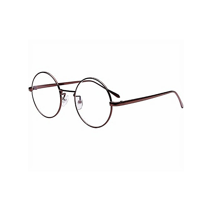 bf837f81a6 Vintage Ladys Coffee Round Metal Frame Transparent Plano Lenses Sunglasses  Mirror Sun Glasses Women Eyewear With