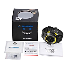 SUNROAD Multifunctional 5ATM Waterproof Men Digital Sport Watch With Pedometer black & yellow