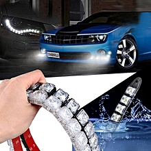 jiuhap store  2x COB Car DRL Driving Fog Light 10 LED Daytime Running Light Flexible-As shown