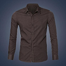 Mens Luxury Stylish Casual Dress Slim Fit T-Shirts Casual Long Sleeve CO/M-Coffee
