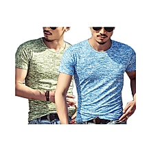 Pack of  2  Men's Cotton Casual Short Sleeve T-shirt Blue&Green