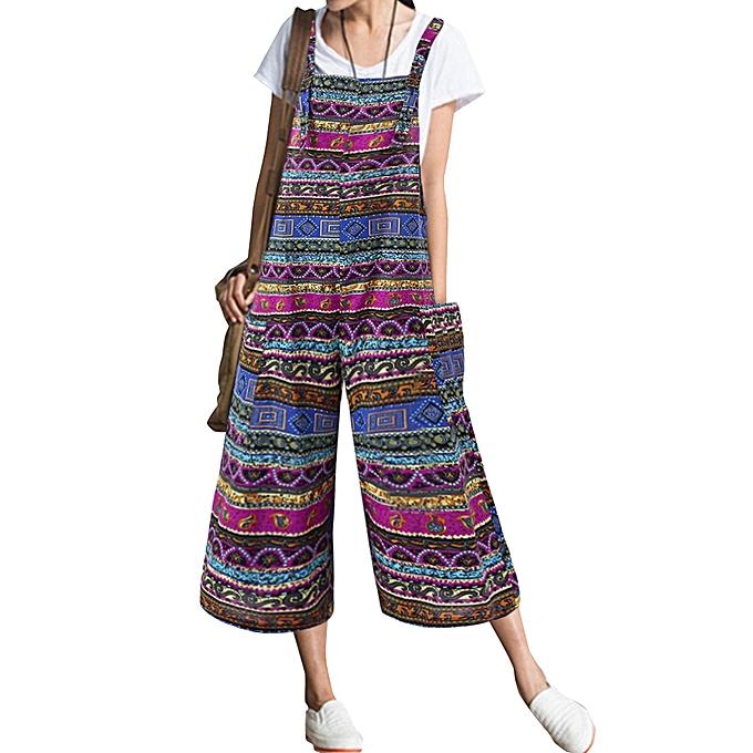 ca97c04062a Fashion Women Patchwork Bohemian Sleeveless Pocket Jumpsuit   Best ...