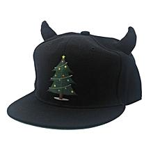Little Devil Horns Baseball Cap Fashion Hip Hop Snapback Unisex Flat Brim Hat For Christmas Halloween Models:Kids Size Colour:Xmas Tree
