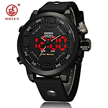 OHSEN Military Sports Watch Man Analog Digital Quartz Watch Men Male 50m Waterproof Rubber Strap Swim Wristwatch Hombre Relogios