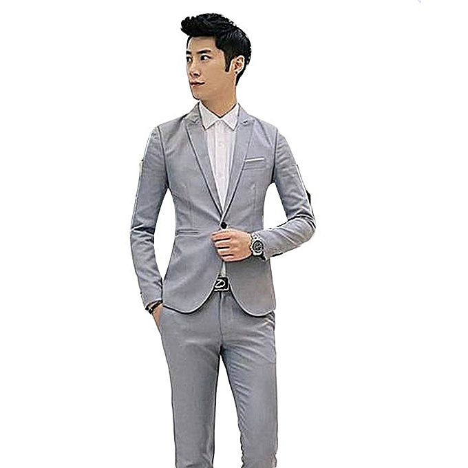 34138bdf05f6 Grey Korean Style Men Suit Coat Slim Suit Men's Jacket Solid Color Casual  Men's Clothing Work