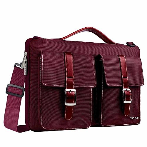 f61fe2cc48ba Laptop Bag 13.3 14 15 15.6 Inch Waterproof Notebook Bag for Macbook Air Pro  13 15 Computer Shoulder Handbag Briefcase Bag( 14-15.6 inch)(Wine Red)
