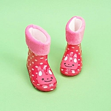 Waterproof Child Animal Rubber Infant Baby Rain Boots Kids Warm Rain Shoes- Red