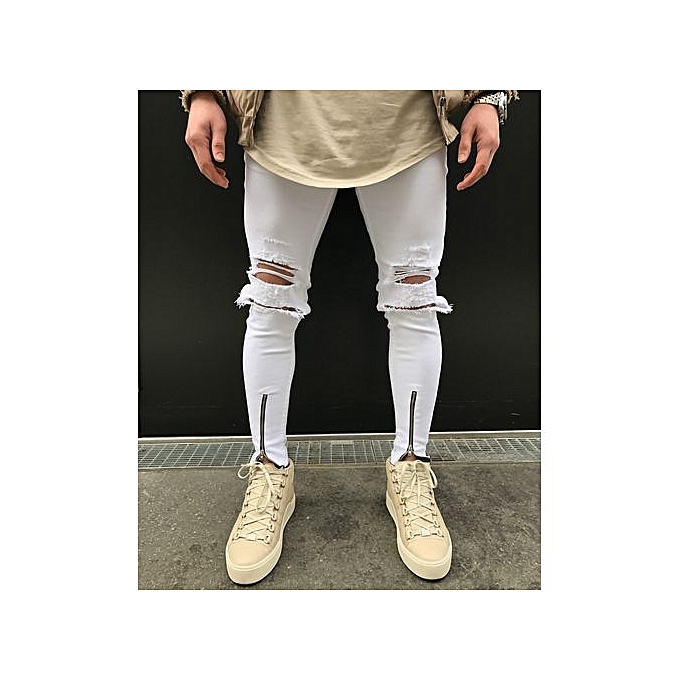 d499b9ce Grace Street Hiphop Men's Knee Hole Stretch Denim Jeans Pants Men Ripped  Beggars Punk Gothic Skinny