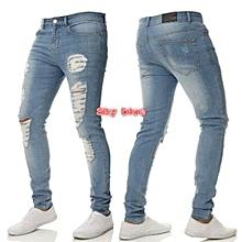 Men Trendy Fit Ripped Skinny Jeans - Light Blue