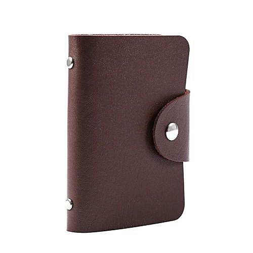 Buy universal pu leather business card holder pocket case purse pu leather business card holder pocket case purse wallet protector for 24 cardsbrown reheart Image collections