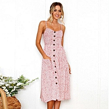 New Summer Women's Floral Print Sleeveless Shoulder-Straps Buttoned Backless Sexy Dress With 20 Colors Optional (Blush Pink)