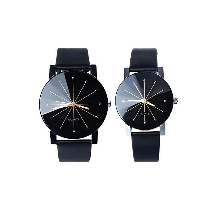 2 Men And Women Quartz Dial Clock Leather Wrist Watch Black