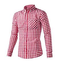 2017 New Men's Check Shirt Zipper Shirt Summer  Autumn Casual Work Long  Sleeve  Date Shirt