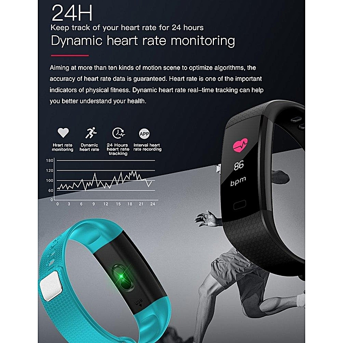 Y5 Wristband Heart Rate Blood Pressure Monitor Bluetooth Smart Watch IP67  Water Proof Fitness Tracker Smart Bracelet For Android And IOS Phone