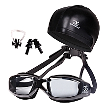 Swimming Glasses And Hat Equipment Set Ear Plugs Nose Waterproof Anti-fog Profes