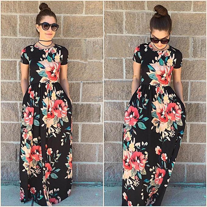 b546d5ebdf97 jiuhap store Women Summer Dress Short Sleeve Floral Print Beach Party Casual  Long Dress -Black