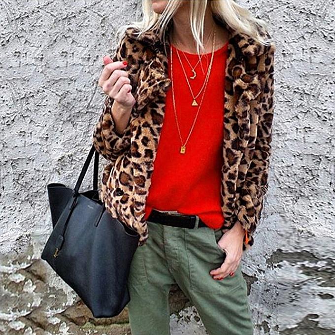 Winter Women Faux Fur Coat Leopard Print Long Sleeve Turn-down Collar Fluffy  Jacket Warm fc121513f