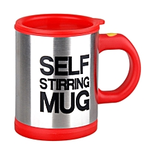 Stainless Lazy Self Stirring Mug Auto Mixing Tea Coffee Cup Office Home Gifts-Red