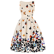 Butterfly Print Floral Prom Dress - Beige