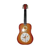 Guitar Shaped Wall Clock - Golden Brown.