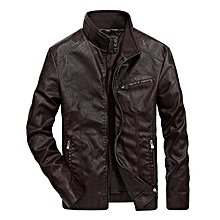 Mens Motorcycle PU Leather Fashion Zipper Jacket Stand Collar Black Coat