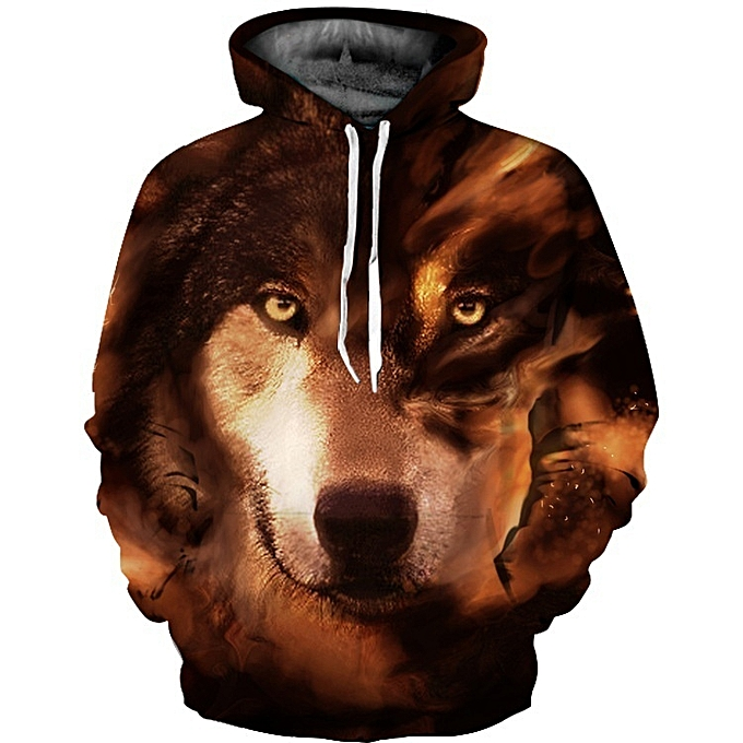 33a830d24820 Generic New Stylish Unisex Long Sleeve Brown Wolf Pattern Sweater ...