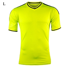 New Design L Size V-neck Design Short-sleeve Soccer Jersey Breathable Football Training Suit - Neon Yellow