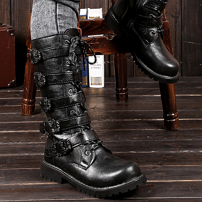 29ccf723d26e8 Men Black Punk Rock Boots Goth Ankle Mid-Calf Lace-up Biker Leather Buckle