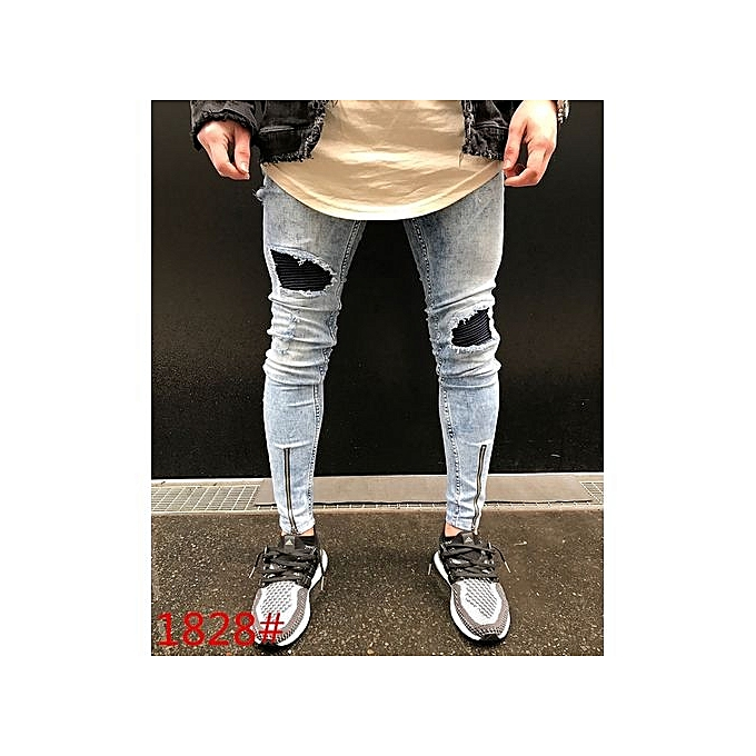 f344ef1d Men's New: Street Hiphop Men's Knee Hole Stretch Denim Jeans Pants Men Ripped  Beggars Punk