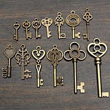 Set Of 13 Antique Vintage Old Look Skeleton Key Pendant Heart Bow Lock Steampunk
