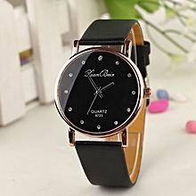 Fashion Women's Diamond Leatheroid Band Round Dial Quartz Wrist Watch -Black