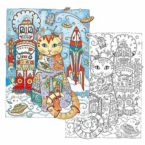 Hequeen Creative Haven Cats Colouring Book For Adults Antistress Coloring Secret Garden Series Adult