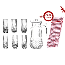 Quality Tableware Serving Crystal Juice/Water Glasses Jug Set - 7pcs (+ Free Gift Hand Towel).