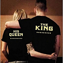 Refined Men/Women Fashion Black Couple Clothes THE KING/HIS Queen Golden Letter Print T-Shirts Sport Top Blouse Couple Tshirts-Black For Man