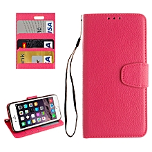 For  iPhone 8 & 7  Litchi Texture Horizontal Flip Leather Case with Photo Frame & Card Slots & Wallet & Holder & Lanyard(Magenta)