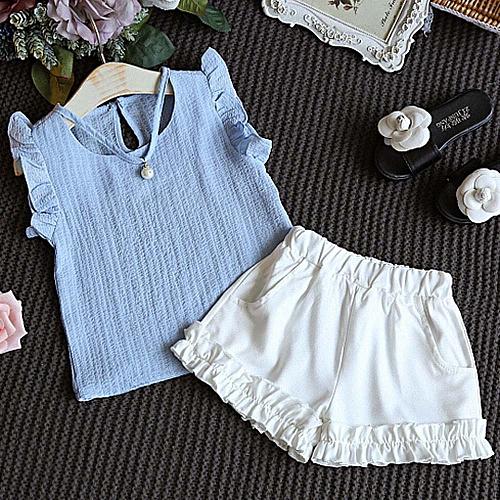 47147d141 MUYI 2PCS Toddler Kids Baby Girls Summer Outfit Clothes T-shirt Tops ...