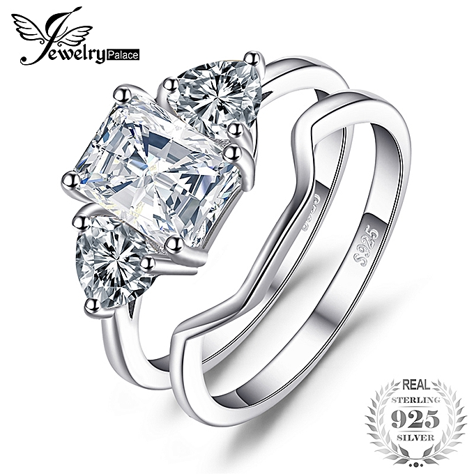 69a58a3e3 3ct Emerald Cut Cubic Zirconia 3 Stone Anniversary Promise Wedding Band Engagement  Ring Bridal Sets 925