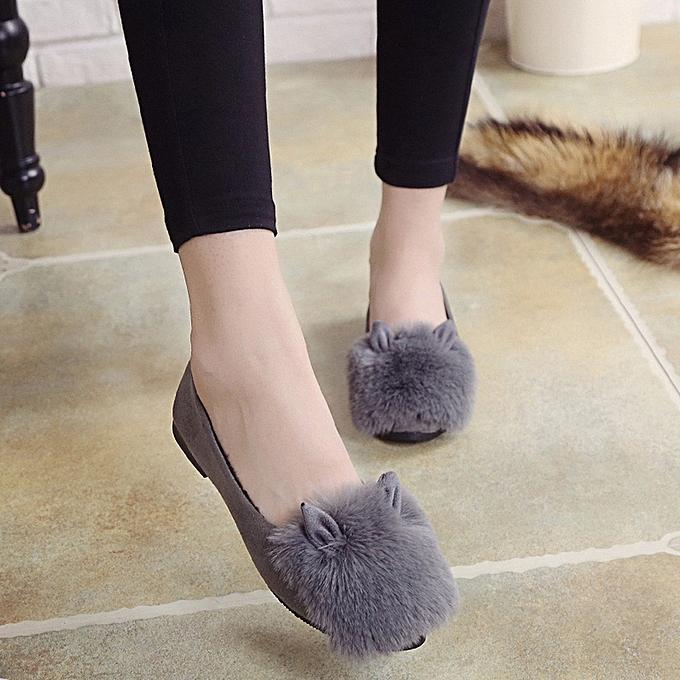 d069b0399d0c ... Cute Warm Women Flats Shoes Snow Women Autumn Winter Shoes Fashion GY 36 -Gray ...