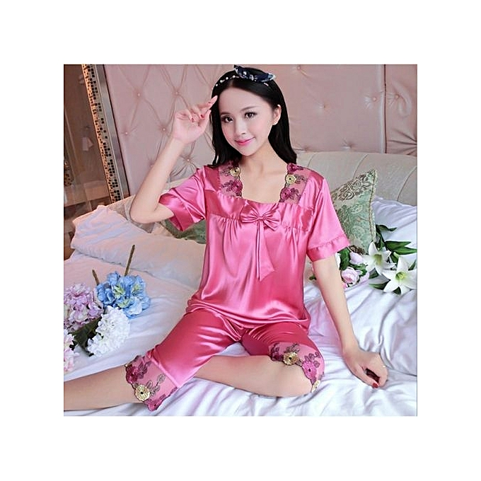 4b95685aea 2017 Spring And Summer New Silk High-end Women s Silk Embroidery Sexy  Pajamas Suit Home