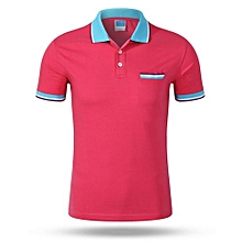 Best Sale Fashion Casual Men's Summer Breathable Short Sleeves Polo Shirts-Hotpink
