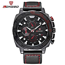 Watches, 80216 Luxury Man Leather Watch Sports Quartz  Waterproof Leather Band Watches For Men Leisure Clock Military Watch - Black