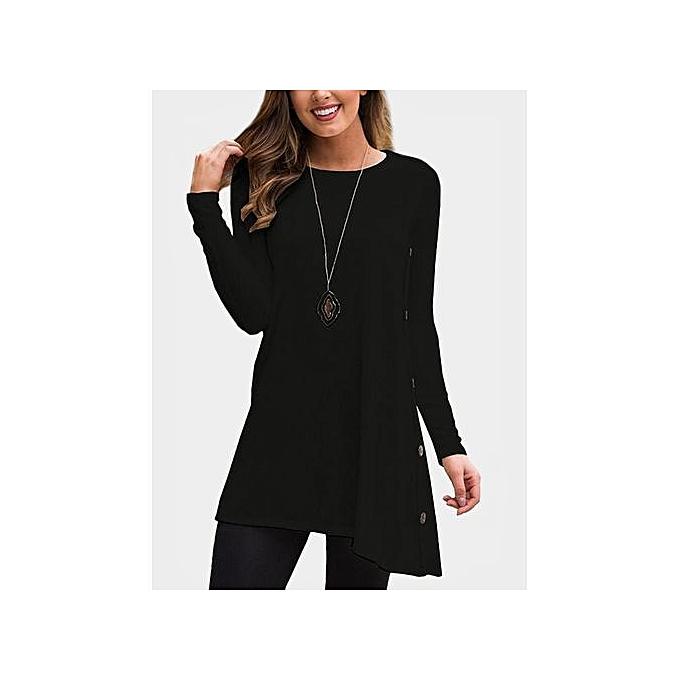 8d47f0fd6b ... YOINS Women New High Fashion Clothing Casual Long Sleeves Round Neck  Side Button Design Black Dress ...